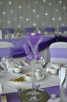 Centre pieces for tables. SIMPLE easy to mix it up. Water beads in blue, orange, clear. Floating candles and butterflies. Large Blingy butterfly to kick it up a notch