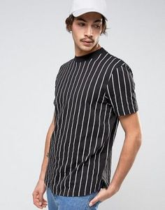 ASOS Longline Striped T-Shirt With Curved Hem