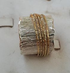 Spinner Ring Silver And Gold , Wide Wedding Ring - Spinner Silver And Gold Ring Wide Spinner Ring Women Spinner Thin Gold Rings, Gold Rings Jewelry, Jewellery, Schmuck Design, Wedding Rings For Women, Handmade Silver, Ring Designs, Jewelry Design, Etsy