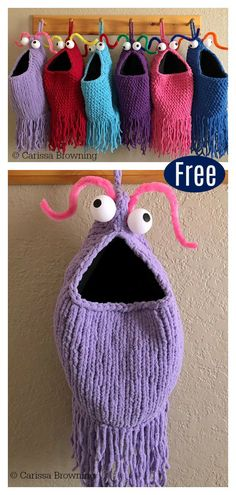 knitting patterns free The Yip Yips Hanging Baskets Free Knitting & Crochet Pattern is an easy project to do. It's embellished with pingpong ball eyes and pipe cleaner antennae. Easy Knitting Projects, Knitting For Kids, Knitting For Beginners, Crochet For Kids, Crochet Projects, Knitting Ideas, Sewing Projects, Knitting Tutorials, Sewing Crafts