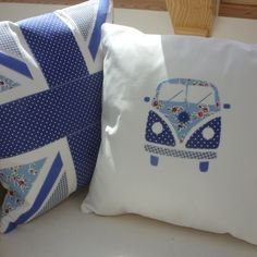 Campervan Blue cushions by Kindred Rose.