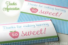 "Teacher Appreciation Week is coming up! Give sweet sentiments to your child's teacher with this printable candy bar wrapper that says ""Thanks for making learning so sweet!""This design would make also a great gift on its own when printed, cut, and placed in a beautiful frame. You will receive one PDF file with this purchase. Download once and print as many as you need for teachers, principals, staff, counselors, and other key education figures in your child's life! ..."