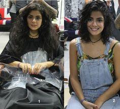 Katia Miyazaki Coiffeur - Salão de Beleza em Floripa: antes e depois-  corte de cabelo cacheado feminino...