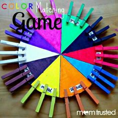 My post for Mom Trusted: Color matching game for your preschooler - learn colors, matching/sorting, and fine motor skillsColor game -Poster board or foam board -Clothes pins -Markers Paints and paintbrush -Ruler -Scissors (I used a utility knife on the fo Toddler Learning, Preschool Learning, In Kindergarten, Fun Learning, Toddler Activities, Learning Activities, Preschool Activities, Teaching, Preschool Colors