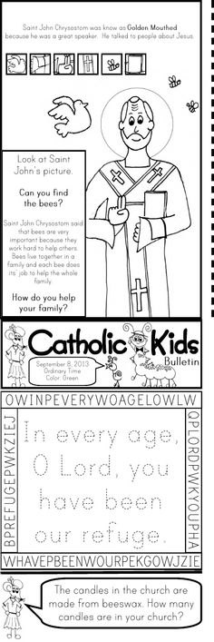 Sts. Gregory the Great, Vincent de Paul, John Crysostom, Padre Pio, Archangels worksheets