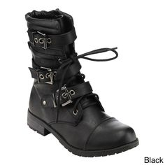 Forever Women's GE11 Midcalf Buckle Strap Laceup Deco Combat Boots