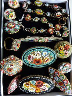HUGE COLLECTION LOT VINTAGE MICRO MOSAIC BROOCHES RING BRACELETS EARRINGS.