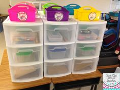 Digging Into Next Year: Classroom Organization - Love these white and clear sterilite drawers from Target, and colorful caddies from Michaels! They make organizing student/group supplies a piece of cake!