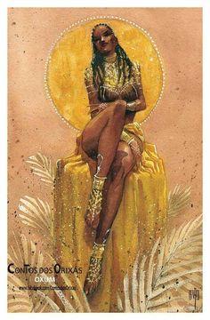 oshun/oxum Sexy Black Art, Black Love Art, Black Girl Art, Oshun Goddess, Goddess Art, Black Goddess, African American Art, African Art, Yemaya Orisha