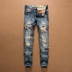 Brand Men Jeans 2017 New Fashion Stitching Hole Jeans Men Retro Blue Straight Slim Denim Pants Male Cotton #Affiliate