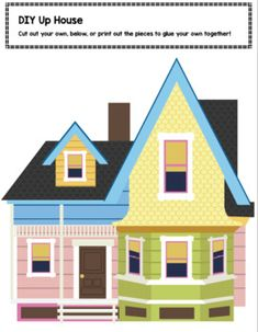 Use this pattern to decorate your classroom with an & theme. Great for beginning of the year, school celebrations, or recognizing student a. Up House Pixar, Up Movie House, Disney Up House, Up Pixar, Disney Pixar Up, Disney Diy, Disney Crafts, Up House Drawing, Up House With Balloons