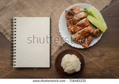 Thai food set grilled Chicken and Sticky rice with note book area for text