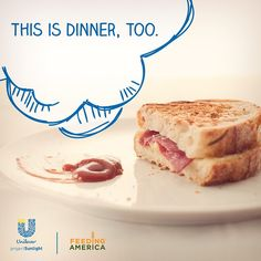 This does not represent a well-balanced meal. Unfortunately, 1 in 5 children do not get to experience a yummy dinner tonight. Repin to spread awareness and help us eliminate childhood hunger.