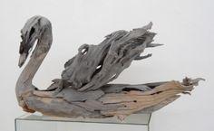 Driftwood swan by Tony Fredriksson