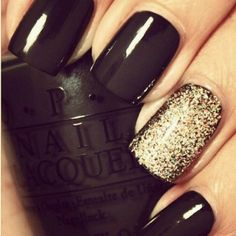 Black Nails With Gold Sparkle Accent Nail