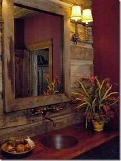 Maroon rustic western bathroom wall.   Stylish Western Home Decorating