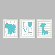 ELEPHANT Nursery Art Decor GIRAFFE Love Is by LovelyFaceDesigns,