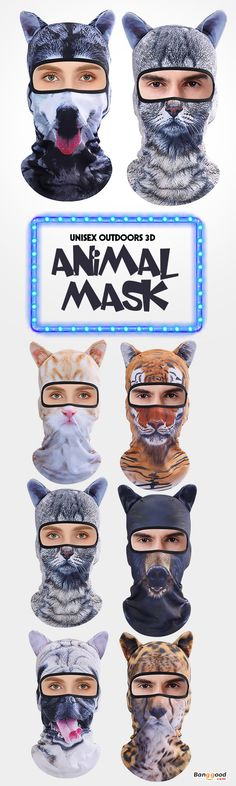 Men Women Outdoor 3D Animal Balaclava Hat Cycling Bicycle Ski Full Face  Mask.  travel  design  partyideas 9f020fad85e6