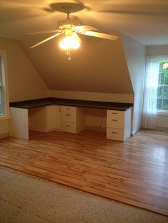 99ee440c1 Built in desk and laminate floors Attic Bedroom Storage