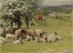 """Sheep and Cattle with Apple Trees,"" John Joseph Enneking, 1890, oil on canvas, 21 1/2 x 29 5/8"", Mount Holyoke College Art Museum."