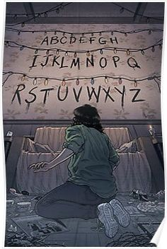 'Stranger Things (RUN)' Poster by -lumossolem- illustrations Stranger Things Tumblr, Stranger Things Netflix, Stranger Things Lights, Film Manga, Illustrator, Animation, Film Serie, Tv Series, Fangirl