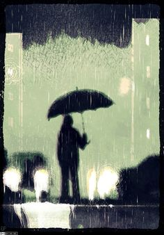 Rain #night #illustration