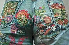 Spent hours sewing patches and trim onto my jeans! Embellished Jeans, Embroidered Jeans, Stilettos, Denim Ideas, Ruffles, Jeans Denim, Sewing Art, Mod Fashion, Vintage Denim