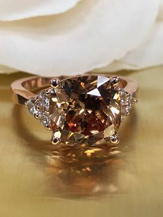 Champagne Cushion Cut With Round Brilliant Accents, Wedding Engagement Promise Ring, Gift for her, Bridal Gift, Love, 14k Rose Gold #5562