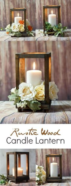 Diy wedding centerpieces 771734086121342736 - Rustic Wood Candle Lantern – perfect for a rustic farmhouse wedding or rustic farmhouse home decor! Deco Champetre, Deco Floral, Floral Design, Floral Foam, Candle Lanterns, Ideas Lanterns, Diy Lantern, Indoor Lanterns, Candels