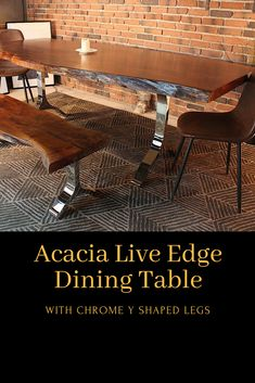 Acacia Live Edge Dining Table With Chrome Y Shaped Legs/Honey Walnut - Wazo Furniture Pub Style Table, Dining Room, Dining Table, Live Edge Table, Centre Pieces, Acacia Wood, Diy Table, Woodworking Plans, Living Spaces