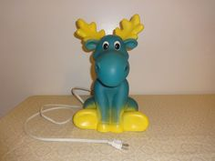 VTG Moose Tabletop Blow Mold Lamp Emb-Leuchten Germany Child's Night Light Lamp