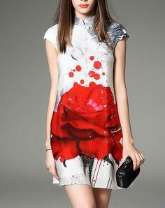 White Cheongsam Cap Sleeve Floral Print Mini Dress