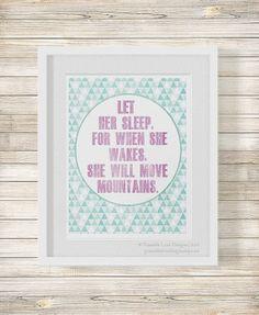Let Her Sleep    nursery art, geometric art print, baby girl, pink and mint, baby shower gift, quote print, baby girl art