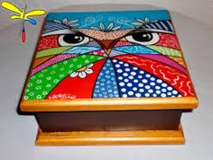 Imagen relacionada Painted Boxes, Home Art, Decoupage, Cube, Diy And Crafts, Mandala, Crafty, Toys, Drawings