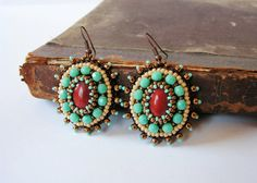 Jasper Beadwork Earrings Turquoise Brown Earrings Turquoise Dangle Earrings Bead embroidery Earrings Bead embroidered jewelry MADE TO ORDER