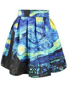 Van Gogh Starry Night Skirt Sexy Retro Vintage by SmashingRetro