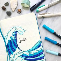 Wonderful June cover by I got to swim in the sea for the first time in so long today, it was so nice! Bullet Journal June, Bullet Journal Cover Page, Bullet Journal Spread, Bullet Journal Layout, Bullet Journal Ideas Pages, Journal Covers, Bullet Journal Inspiration, Book Journal, Happy June