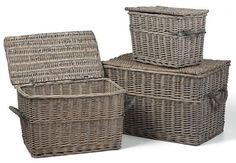 These woven baskets in antique gray are perfect for storing any new Christmas toys! #storage #organization