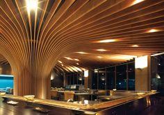 Slat ceiling w/ lighting