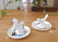 ring and trinket holders: squirrel and bird