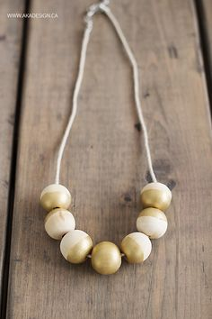 Painted Wooden Bead Necklace - http://akadesign.ca/painted-wooden-bead-necklace/