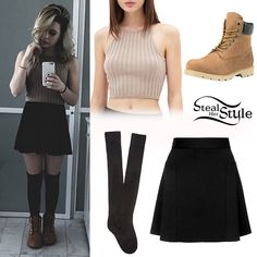 Bea Miller posted a picture a few weeks ago wearing a Forever 21 Ribbed Knit Crop Top (Sold Out), the Topshop Flippy Panel Skirt ($45.00), Forever 21 Over-The-Knee Socks ($6.90) and a pair of Timberland 6-Inch Basic Rust Nubuck Waterproof Boots ($160.00).