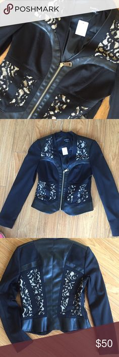 Black leather & lace jacket ADORABLE size 4 leather and lace jacket. Fits amazing. I have 2 that's why I'm selling one lol. Ask any ?'s :) bebe Jackets & Coats Blazers