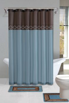 Blue And Brown Bathroom Bath Shower Curtain And Bath Rug Set