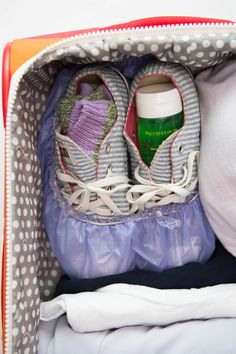 Stuff socks and other items that won't spill it to your shoes to maximize space. --20 Genius Space-Saving Hacks for Packing Your Suitcase