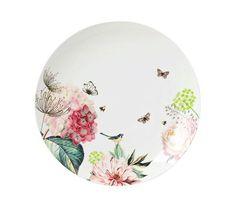 Dezertní porcelánový talířek zaujme jemnými motivy rozkvetlé louky. Cena za kus 120 Kč; F&F