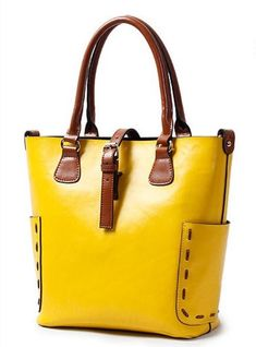 / stylish bucket shoulder bag / bright yellow leather with contrasting brown trim ams straps /Buy TucciPolo high quality leather bags made with durable leather for your comfort. Our bags comprises of leather briefcases, leather messenger bags, travel Fashion Handbags, Purses And Handbags, Fashion Bags, Leather Purses, Leather Handbags, Leather Totes, Crossbody Bag, Tote Bag, Duffle Bags