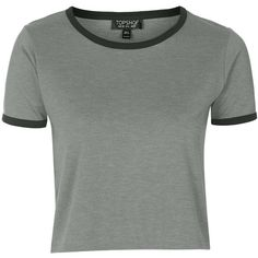 TOPSHOP Contrast Trim Tee (€14) ❤ liked on Polyvore featuring tops, t-shirts, shirts, crop tops, tees, t shirts, grey, cropped tops, gray t shirt and tee-shirt