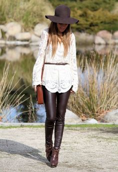long lace top & pleather skinnies. also wish i could pull off the hat!