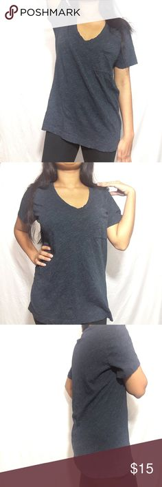 """MADEWELL  Navy  Short V -Neck Tee with pocket Large ♡Length: ~26"""" ♡underarm to underarm: ~19.5""""  MEDIUM  ♡Length: ~26"""" ♡underarm to underarm: ~19""""  ♡Pre-owned; great condition, no stain, tear, or rips. ♡Due to studio lighting, product be may lighter or darker in pictures.  OFFER ARE WELCOME!!  Thank you for Stopping by.😍😘😁 H12 Madewell Tops Tees - Short Sleeve"""